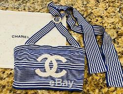 $ CHANEL La Pausa Logo Crop TOP CC Striped 34 36 38 2 4 6 T Shirt Dress Swim S M