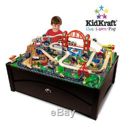 KIDKRAFT METROPOLIS 100 pc WOOD TRAIN SET TABLE with TRUNDLE ACTIVITY PLAY TOY