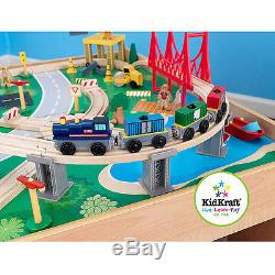 KidKraft Wooden Train Table and 120-Piece Waterfall Mountain Train Set with 3 B