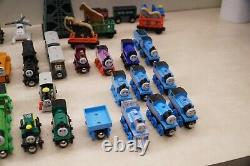 Lot of 66 Pieces Thomas The Train Wooden Railway Trains & Vehicles + Cranky