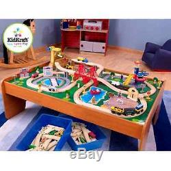 New Kids Wooden Train Set And Table 100 Piece Activity Play Fun Rail Way Town