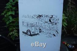 Original drawing 4 Thomas the Tank Engine Percy Coach FULL PAGE early'95 signed