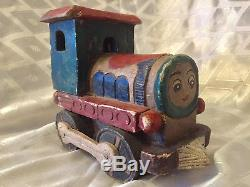 Thomas The Tank Engine Train Carved Painted Wood Toy 1940 Palestine Eretz Israel