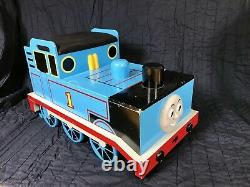 Thomas The Tank Engine Wooden Bench Storage Bin Toy Chest + HUGE TRACK TRAIN LOT