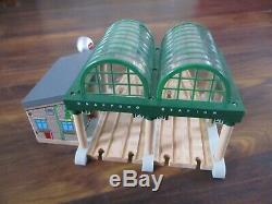 Wooden thomas the tank engine train set knapford station with microphone